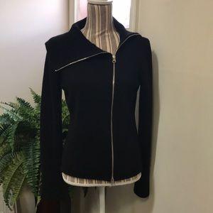 Ann Taylor LOFT Zippered Black Sweater